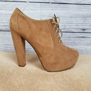 Platform Booties Brown Lace Up Ankle Boots Heels 8